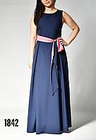 Платье женское в пол с поясом без рукавов от бренда Adele Leroy.