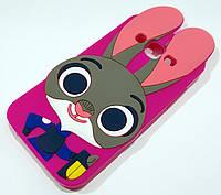 Чехол детский для Samsung Galaxy J5 j500 (2015) силиконовый объемный игрушка зайчик Джуди малиновый