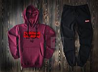 Мужской спортивный костюм Supreme фиолетового и черного цвета  (люкс копия)