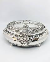 Декоративная шкатулка M Vizyon из мельхиора с посеребрением овальная