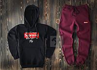 Мужской спортивный костюм Supreme черного и фиолетового цвета  (люкс копия)
