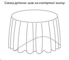 Скатертина діаметром 350см для круглого столу 200см Біла Туреччина, фото 2