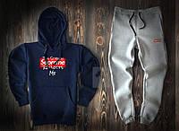 Мужской спортивный костюм Supreme синего и серого цвета  (люкс копия)