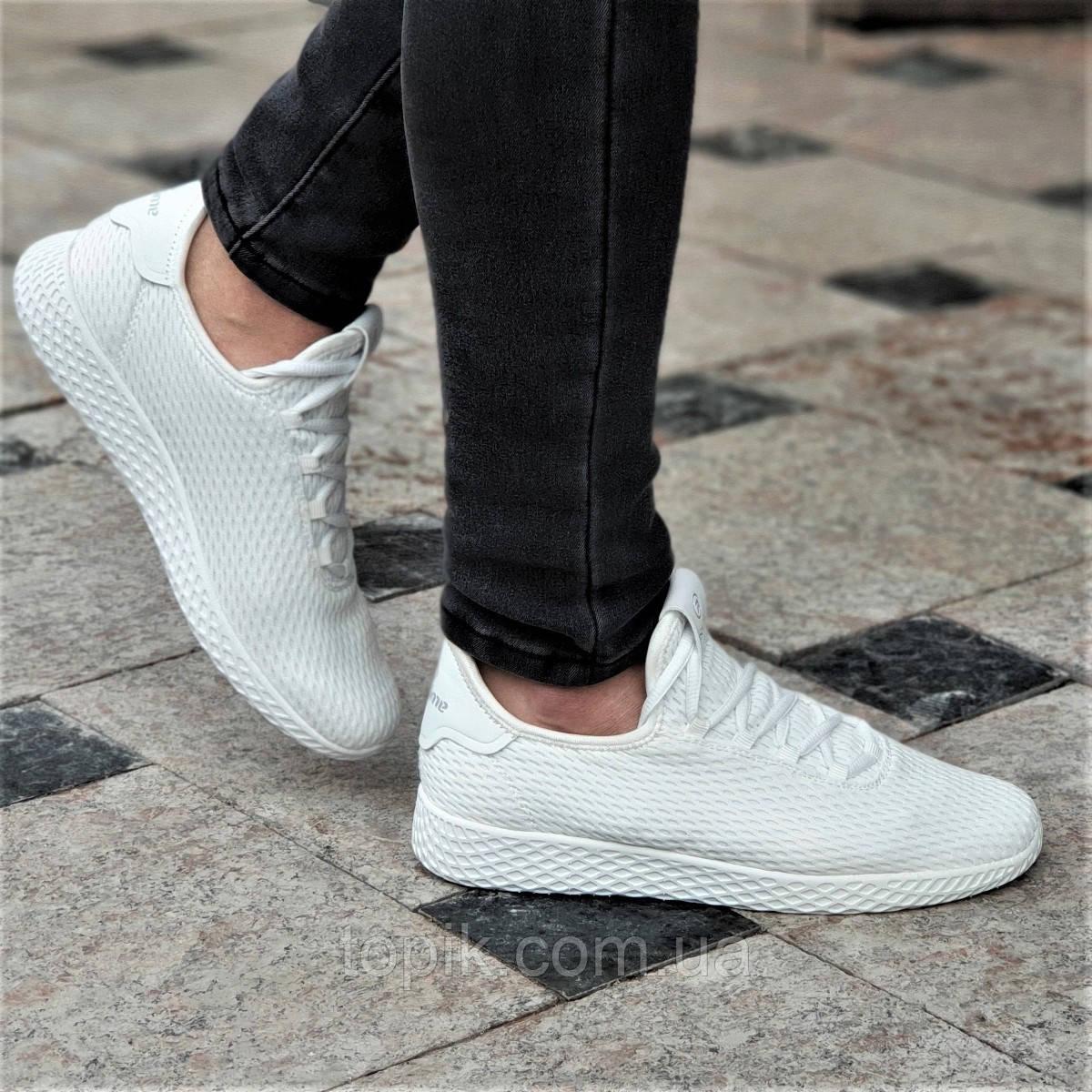 Женские белые кроссовки текстильные легкие и удобные мягкая подошва из пенки (Код: 1341а)