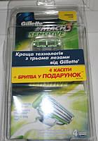 Станок Gillette Mach 3 Sensitive + 5 сменных картриджей оригинал