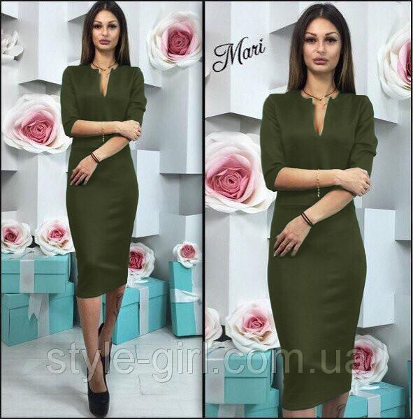 7e1557b4d93 Женское платье офисного стиля с рукавом три четверти хаки