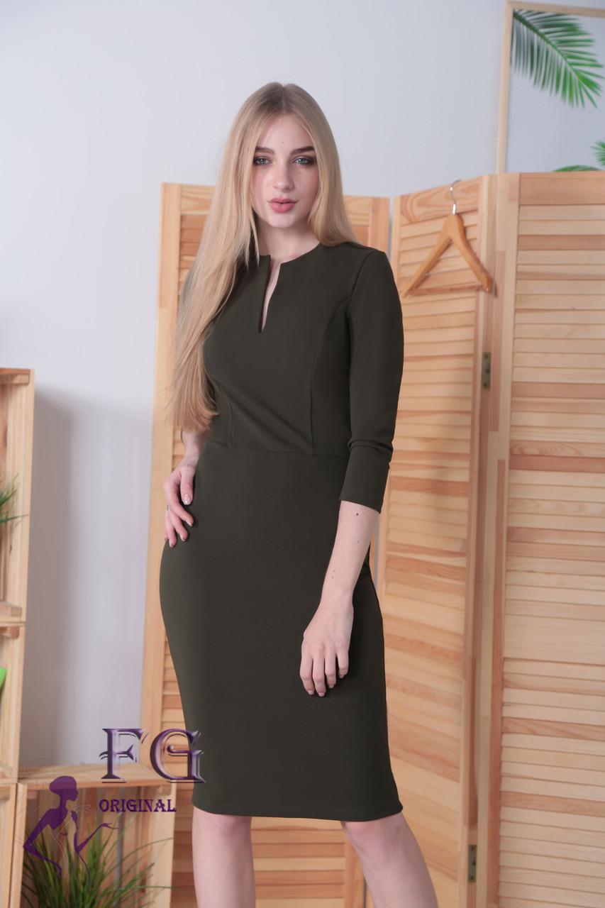 92cc1b4a3da Женское Платье Офисного Стиля с Рукавом Три Четверти Хаки