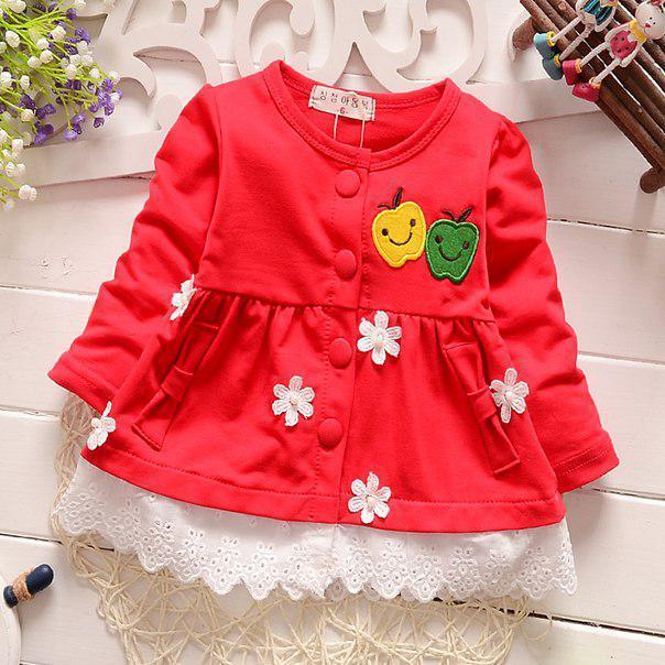 Платье нарядное на девочку красное с яблочками