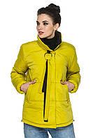 Демисезонная короткая женская куртка декорировано галстучком. Размеры с 46 по 56. Пять цветов. Код Нонна