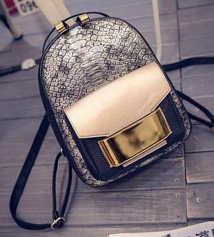 Стильный женский рюкзак золотистый