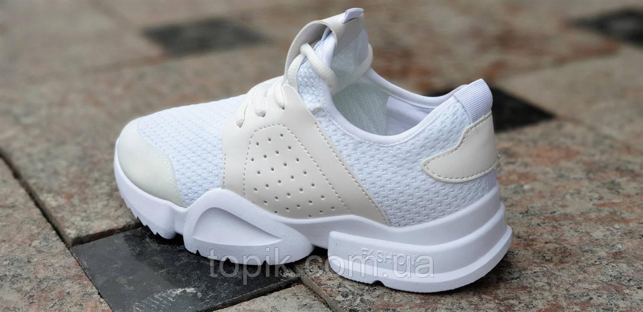 ea860eea0 ... Белые женские кроссовки удобные и красивые из бежевыми вставками легкая  подошва (Код: 1344а) ...