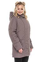 Демисезонная удлиненная женская куртка прямого кроя большого размера. Размеры с 52 по 62. Три цвета. Код Ирма