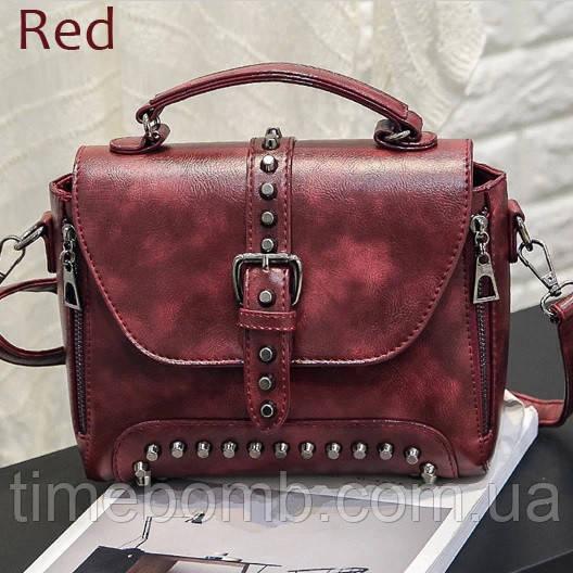 Дизайнерская женская сумка с заклепками ZMQN красная