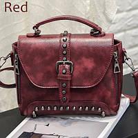 Дизайнерская женская сумка с заклепками ZMQN красная, фото 1