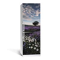Наклейка на холодильник Лаванда 02 двухслойная (пленка самоклеющаяся, цветы, ромашки)