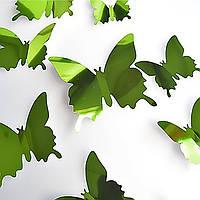 Наклейки бабочки зеркальные, стикеры интерьерные, декор, зеленые.