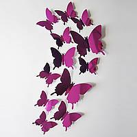 Наклейки бабочки зеркальные, стикеры интерьерные, декор, фиолетовые.