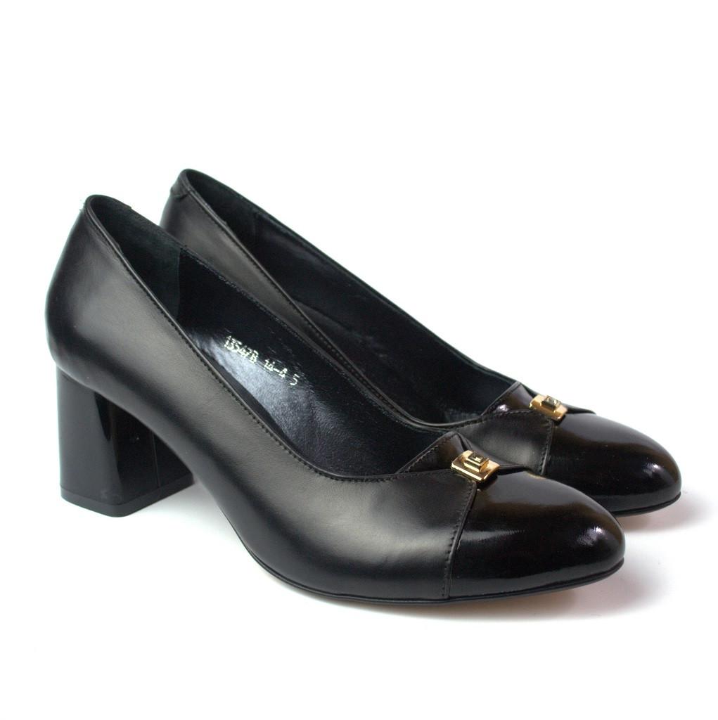 Туфли лодочка женские на каблуке 6 см Pyra V Gold Black Lether by Rosso Avangard кожаные черные