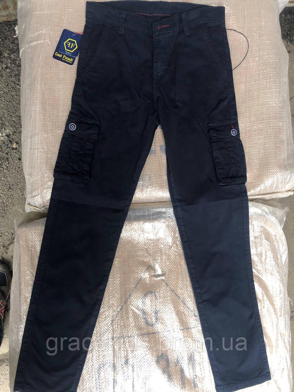 Котоновые брюки для мальчиков с накладными карманами командосы,разм 11-15лет
