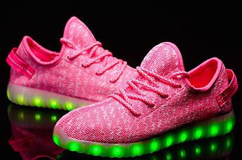 """Светящиеся Led кроссовки Yeezy Boost """"Розовые изи буст"""" 39,40,41 размер"""
