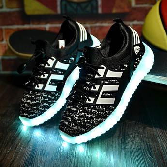 """LED кроссовки """"тканевые детские черные"""" со светящиеся подошвой 31,32,33 размер"""