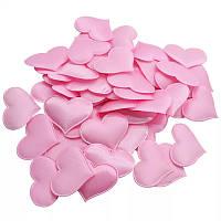 Сердечки мягкие для декора, свадебное конфети из сердечек, романтическая атмосфера 100 шт. GS807 Розовый