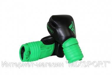 """Боксерские перчатки adidas """"Hybrid 300"""". Цвет черно-зеленый."""