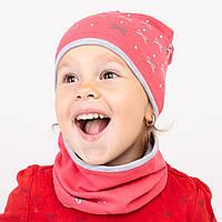 Комплект для девочек Шапка + хомут Весна/осень, размер 46-50 Бантики Стразы 2346+ Vertex Украина