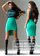 Яркое платье для яркого образа верх декорирован эко-кожей, юбка короткая, удлиненная сзади, бирюзовое