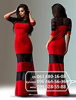 Длинное платье, в котором интересно сочетаются полосами французский трикотаж и сетка, красное