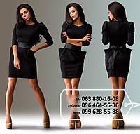 Эффектное мини-платье с оригинального кроя карманами и рукавами-фонариками на широком поясе из эко-кожи, черное
