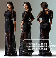 Роскошное платье с атласной короткой основой и гипюровым верхом в пол, широким поясом в виде банта, черное