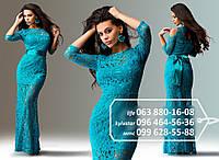 Красивое платье с атласной короткой основой и гипюровым верхом в пол, широким поясом в виде банта, бирюзовое