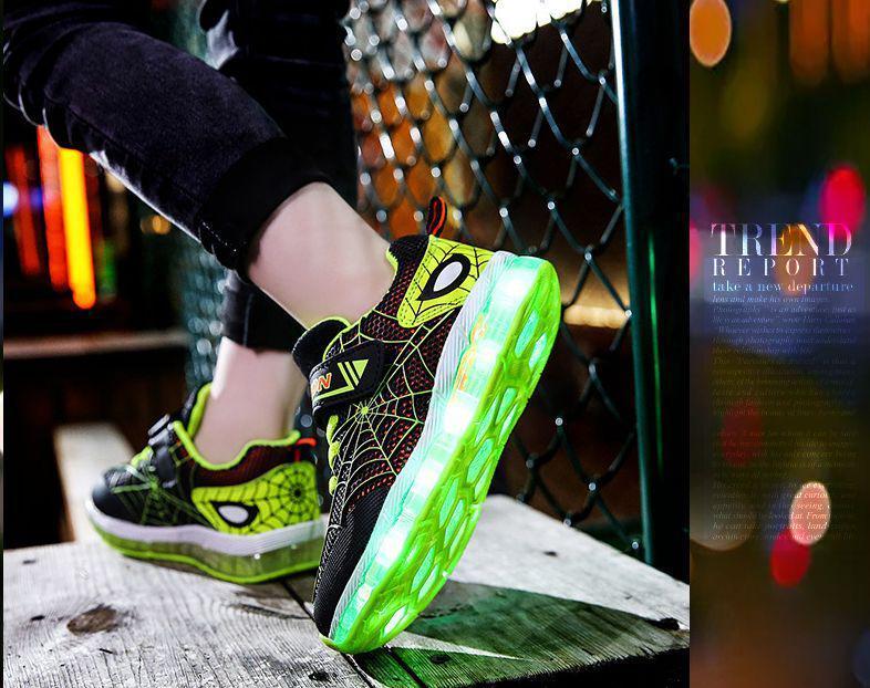 Светящиеся кроссовки нового поколения Spider салатовые, с подсветкой, мигалками