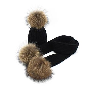 Набор шапка + шарф на меху с помпонами черный