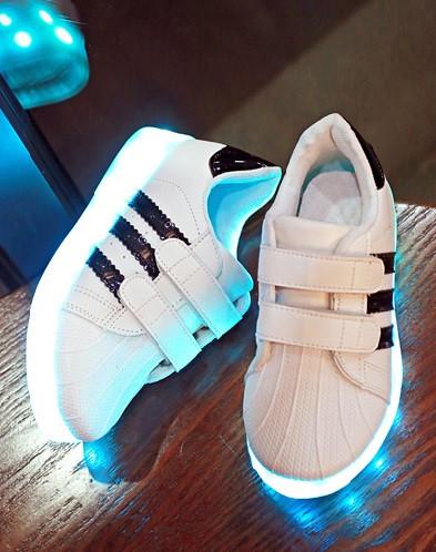 """LED Светящиеся кроссовки Led """"Superstar детские""""  со светящейся подошвой 25"""