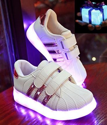 """Светящиеся кроссовки LED  """"Superstar розовые детские""""  со светящейся подошвой, с мигалками 30"""