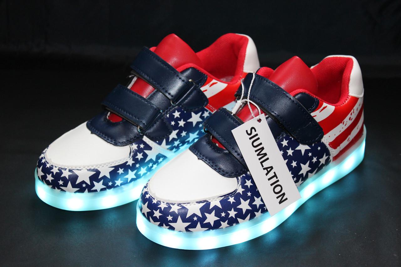 "Детские LED кроссовки светящиеся American kids ""Америка детская"" со светящиеся подошвой 32"