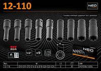 """Головки сменные ударные 1/2"""", E10-E24 мм, набор 9 шт, CrMo, NEO 12-110, фото 1"""