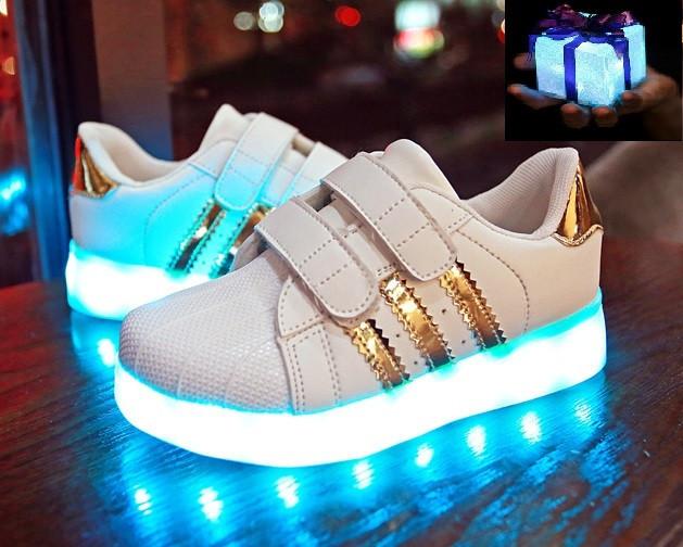 c04b180b LED Детские светящиеся кроссовки с подсветкой