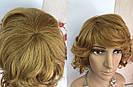 Кучерявый короткий русый женский парик из натуральных волос, фото 3