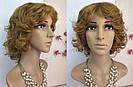 Кучерявый короткий русый женский парик из натуральных волос, фото 4