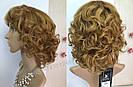 Кучерявый короткий русый женский парик из натуральных волос, фото 5