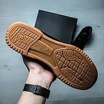 Кроссовки мужские весенние черные на коричневой подошве Fila топ-реплика, фото 3