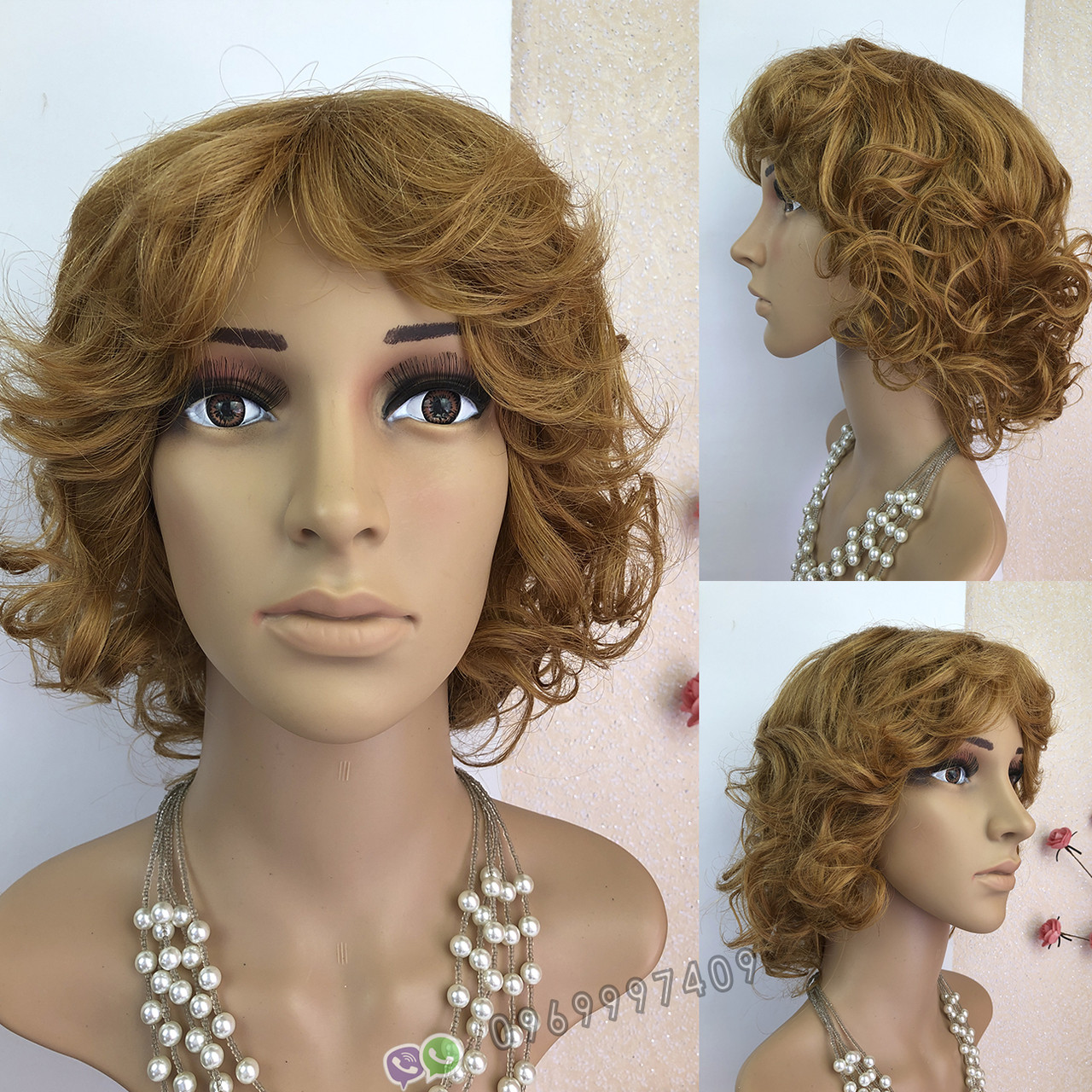 Кучерявый короткий русый женский парик из натуральных волос