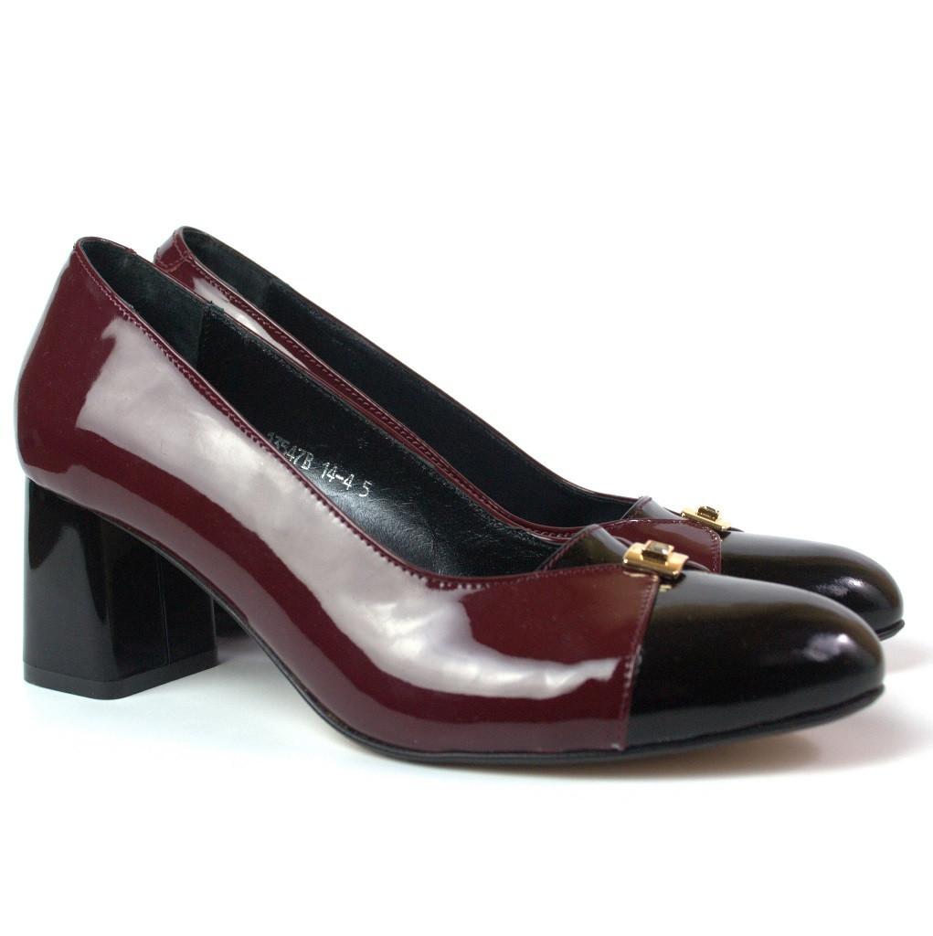 Туфли лак на каблуке женская обувь большой размер Pyra V Burgundy Lether by Rosso Avangard BS бордо
