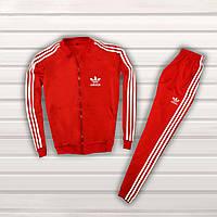 Спортивный костюм двойка Adidas (Адидас) мужской весна-осень красный  (реплика) - 4e771f358461a