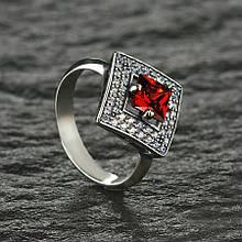 Серебряное кольцо Ромб с цветным фианитом