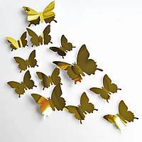 Наклейки бабочки зеркальные, стикеры интерьерные, декор, золото.