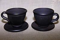"Чайна чашка з блюдцем ""Чорна кераміка"" ручна робота"